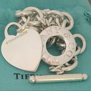 """8"""" Tiffany & Co Toggle Heart Bracelet"""